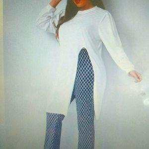 2 piece pant set plus size navy an white